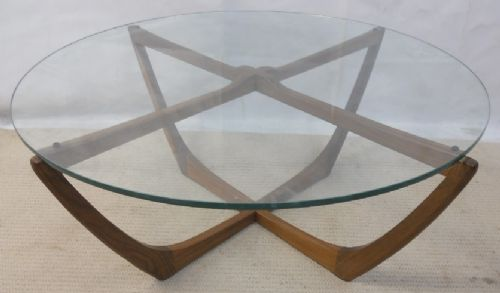 1960's Circular Glass Top Coffee Table - SOLD
